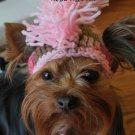 Mohawk Crocheted Dog Hat, Sz SM - Pink & Brn