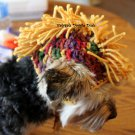 Mohawk Crocheted Dog Hat - Sz SM, Mulit Color GOLD