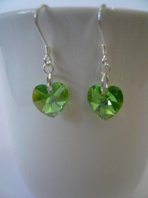 Crystal Heart Earrings in Peridot AB