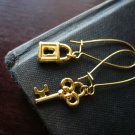 Gold Lock and Key Earrings