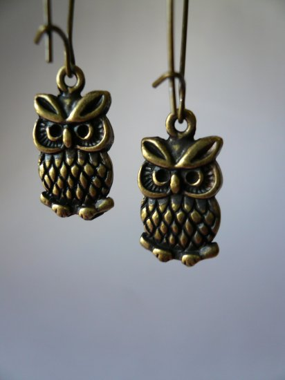 Little Brass Owl Earrings