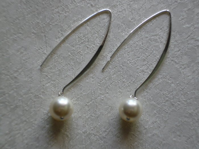 Cream White Pearl Fairy Dangle Drop Earrings