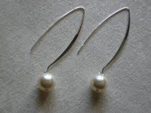Cream White Pearl Fairy Dangle Drop Earrings
