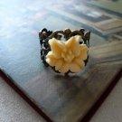 Almond Lily Brass Filigree Ring