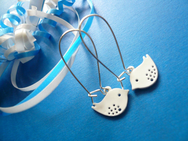 White Buddy Birdie Earrings