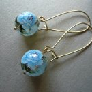 Blue Rose Tensha Flower Earrings