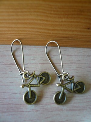 Bronze Bicycle Earrings