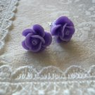 Lavender Rose Flower Post Stud Earrings