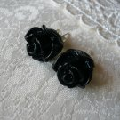 Black Rose Floral Post Stud Earrings