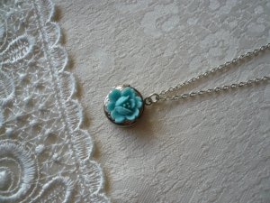 Pastel Blue Gardenia Miniscule Locket Necklace
