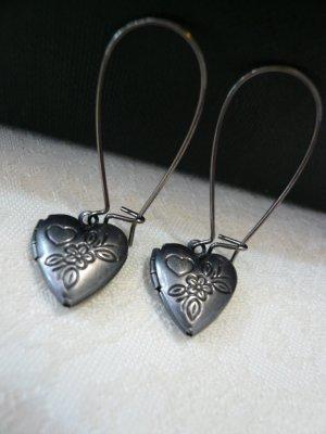 Flower Heart Locket Gunmetal Earrings