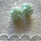 Celadon Green Rose Flower Post Stud Earrings