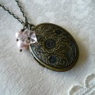 Pink Flower & Pearl Oval Locket Long Necklace