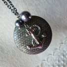 VOYAGE  Antique Silver Round Locket Long Necklace