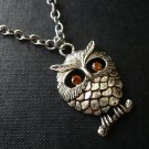 Chubby Topaz Eye Owl Necklace