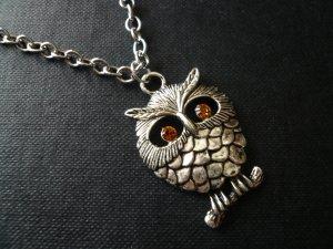 Chubby Topaz Eye Owl Necklace