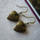 Flower Heart Locket Brass Earrings