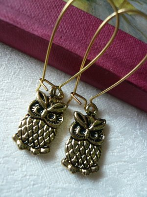 Little Antique Gold Owl Earrings