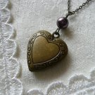 Burgundy Pearl Heart Locket Necklace