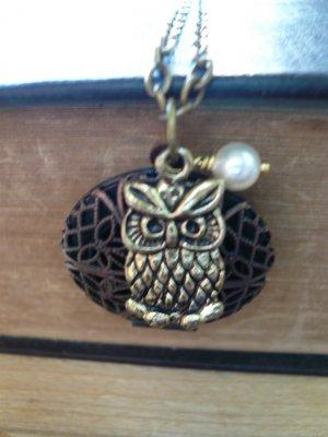 Owl Filigree Locket Long Necklace