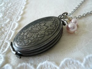 TALE Floral Oval Locket Long Necklace