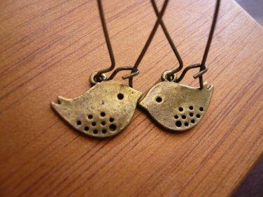 Brass Buddy Birdie Earrings