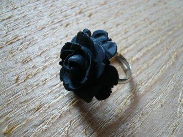 Black Rose Flower Ring