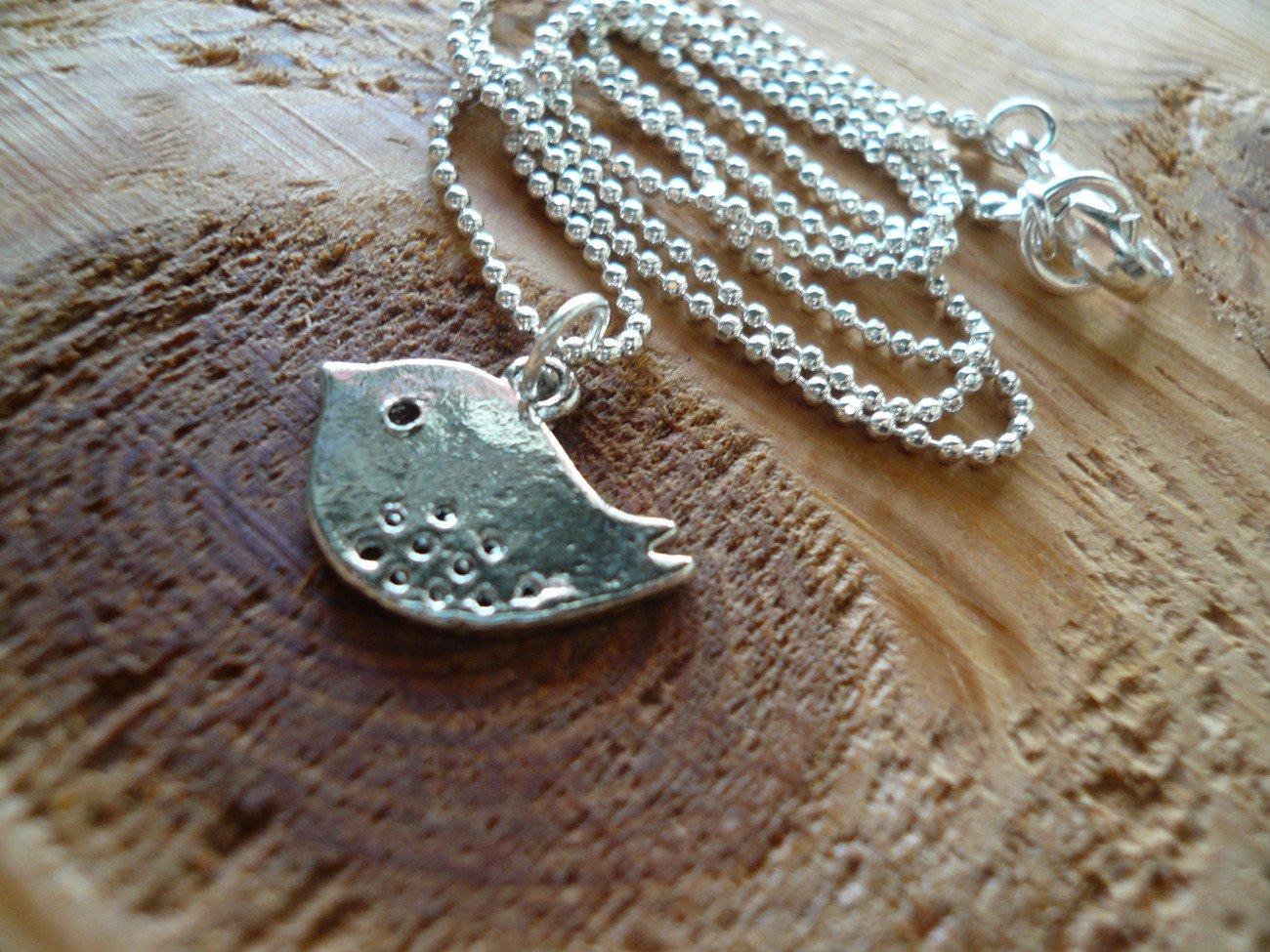 Silver Birdie Short Necklace