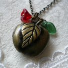 Red Apple Fruit Locket Necklace