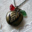 Red Apple Fruit Locket Necklace