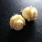 Biege Rose Floral Post Stud Earrings