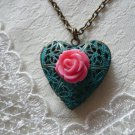 Pink Rose Teal Filigree Heart Locket Necklace