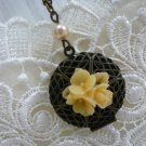 AUTUMN Flower & Pearl Filigree Locket Necklace