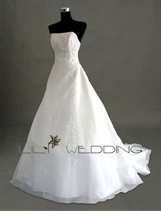 Chapel Train Wedding Dress - Style LWD0053