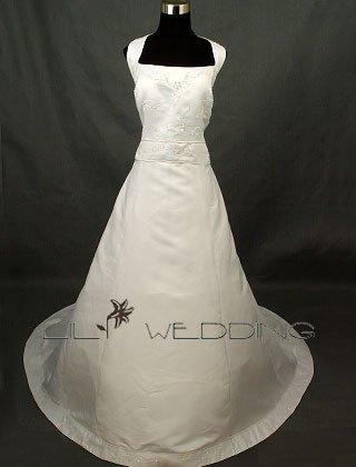 Satin Halter Wedding Gown - Style LWD0055