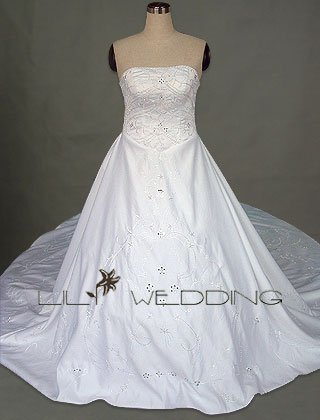 Semi-Cathedral Train Wedding Dress - Style LWD0060