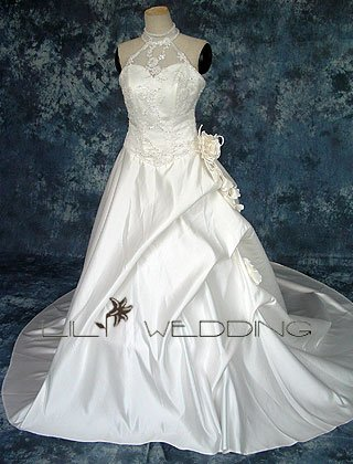 Satin&Lace A-Line Wedding Gown - Style LWD0067