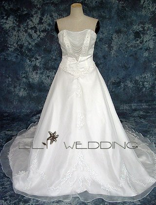 A-Line Chapel Train Neckline Embroidery Wedding Gown - Style LWD