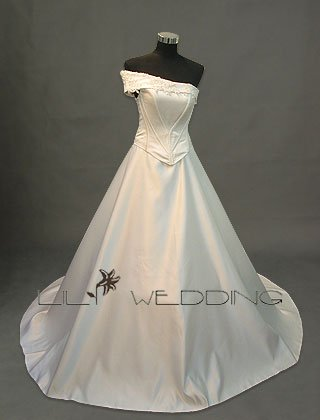 Off The Shoulder Princess Wedding Gown - Style LWD0081