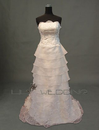 Ten Tiered Layered Skirt Bridal Gown - Style LWD0082