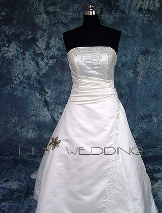 Hand-Stiched Beadwork Strapless Bridal Dress - Style LWD0093