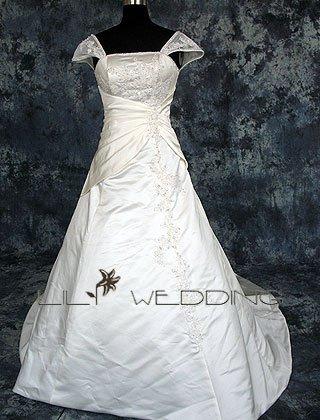 Satin&Lace Short Sleeve Wedding Dress - Style LWD0106
