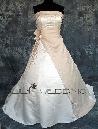 Floral Embroidered And Beaded Bodice Bridal Gown - Style LWD0108