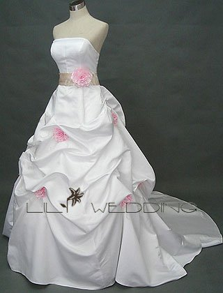 Ball Gown Chapel Length Wedding Gown - Style LWD0110