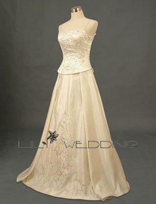 Metallic Embroidery Two-Piece Wedding Dress - Style LWD0114