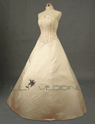 Satin Bodice Adorned Beadworks Bridal Dress - Style LWD0116