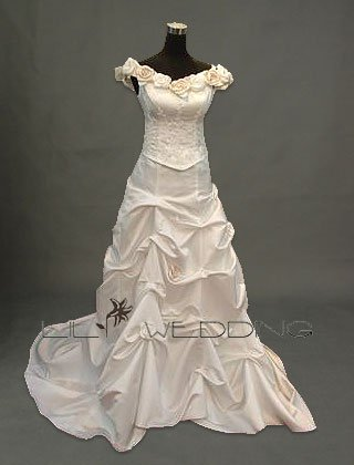 Off-The-Shoulder Flowers Wedding Gown - Style LWD0128