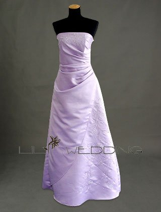 Strapless Satin Bridesmaid Dress - Style LED0035
