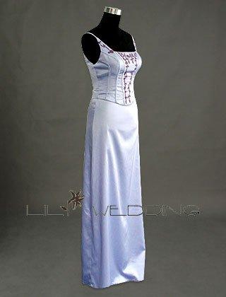 Satin Bodice Embroidered Dress - Style LED0040