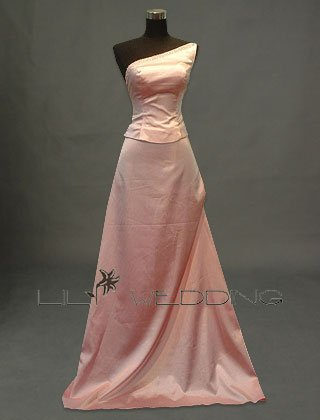Pink One Shoulder Bridesmaid Dress - Style LED0042